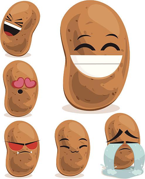 kartoffel cartoon set b - kartoffeln stock-grafiken, -clipart, -cartoons und -symbole