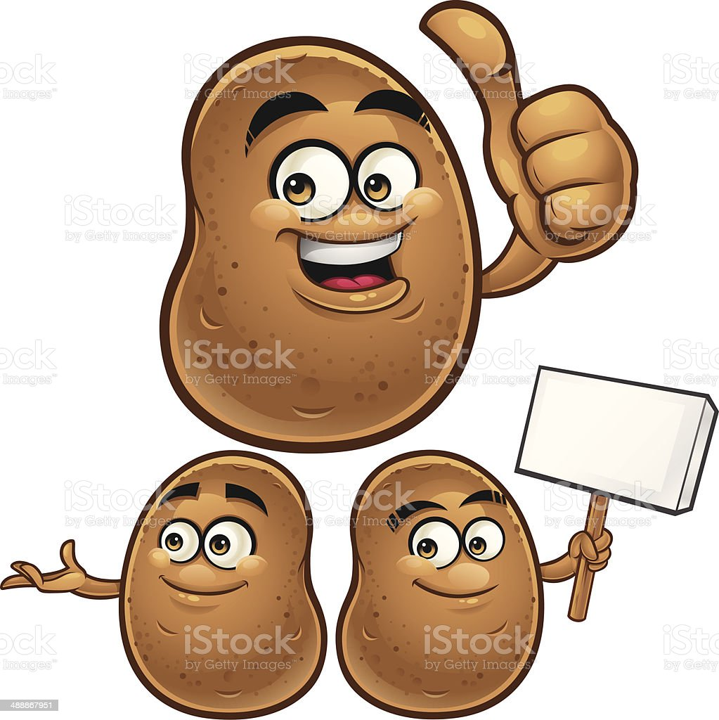 Potato Cartoon Set C vector art illustration