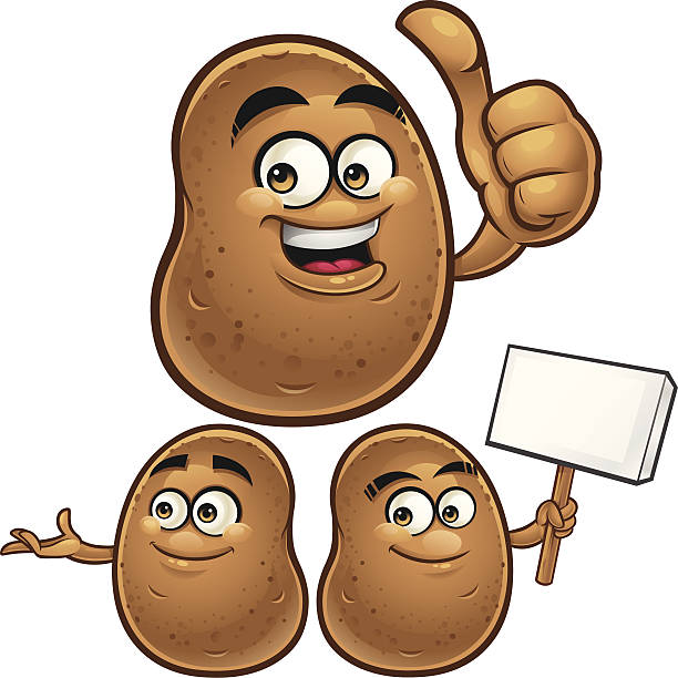 kartoffel cartoon set c - kartoffeln stock-grafiken, -clipart, -cartoons und -symbole