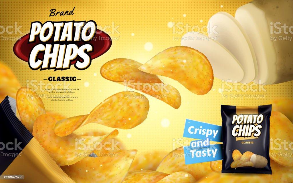 Potato chip ads vector art illustration