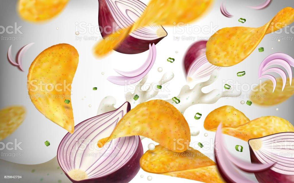 Potato chip background vector art illustration
