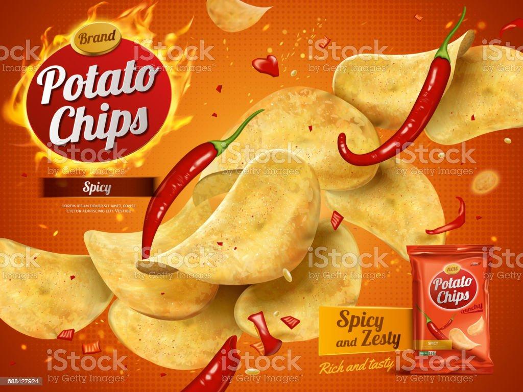 potato chips advertisement vector art illustration