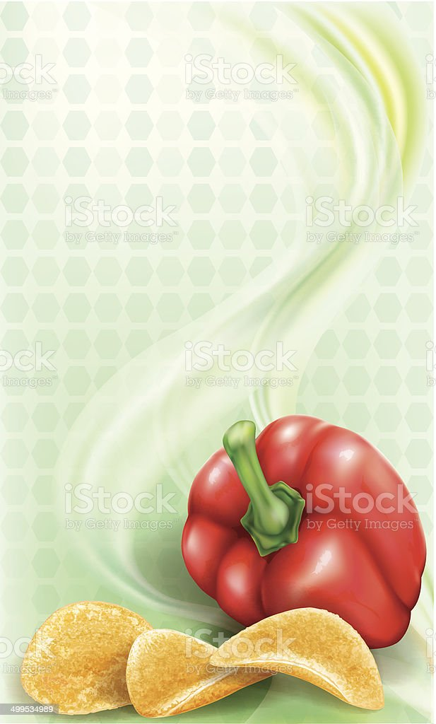 Potato chips and sweet paprika vector art illustration
