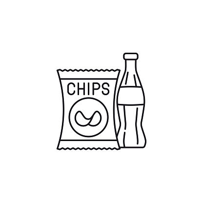 Potato chips bag and soft drink bottle  vector line icon. Unhealthy eating outline  symbol.