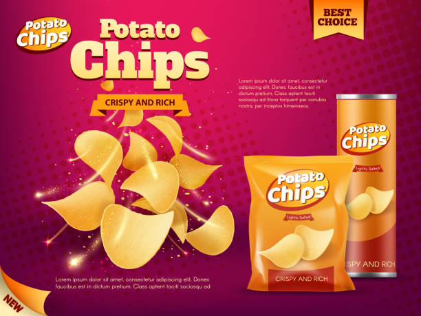 bildbanksillustrationer, clip art samt tecknat material och ikoner med potatischips väska och tublåda. mellanmål mat paket - potatischips