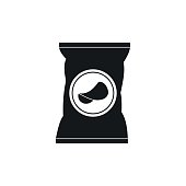 Potato chips bag icon, simple style