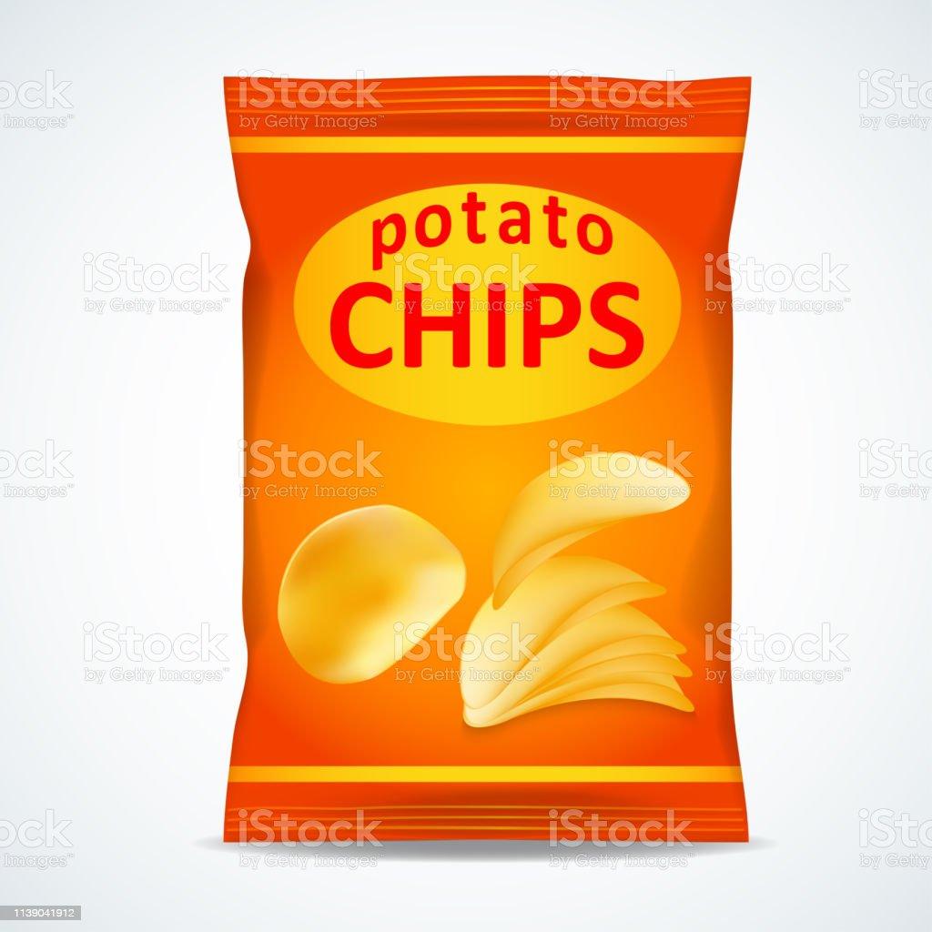 Potatis chips påse isolerade på vitt - Royaltyfri Bag vektorgrafik