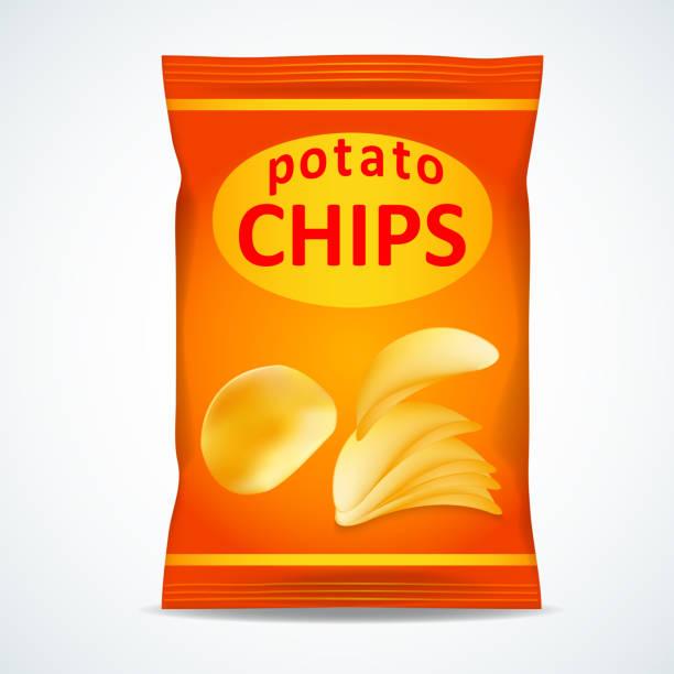 illustrazioni stock, clip art, cartoni animati e icone di tendenza di potato chips bag isolated on white - spuntino