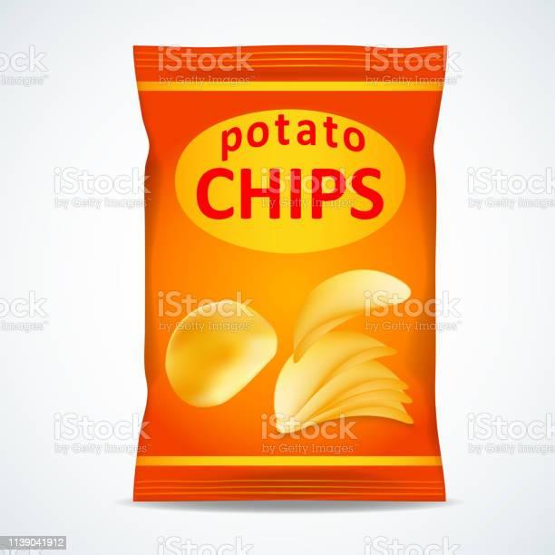 Potatis Chips Påse Isolerade På Vitt-vektorgrafik och fler bilder på Bag