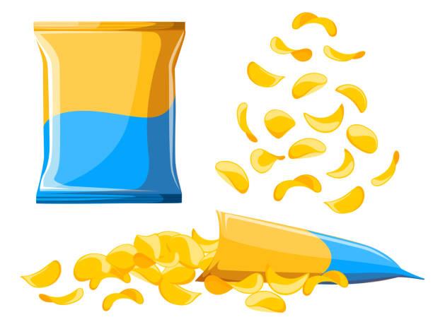 bildbanksillustrationer, clip art samt tecknat material och ikoner med potatischips samling. vektor illustration marker ohälsosam mat illustration redo för marker pack påse paketet platt design stil färska tecknad annan webbplats bakgrundssidan och mobilapp design - potatischips