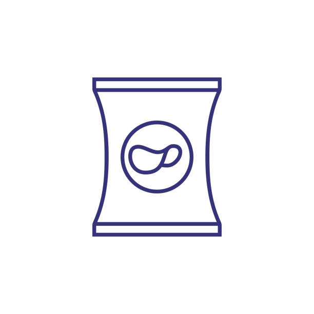 potato chips line icon - torba stock illustrations