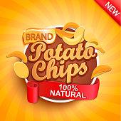 Potato chips on gold sunburst background.