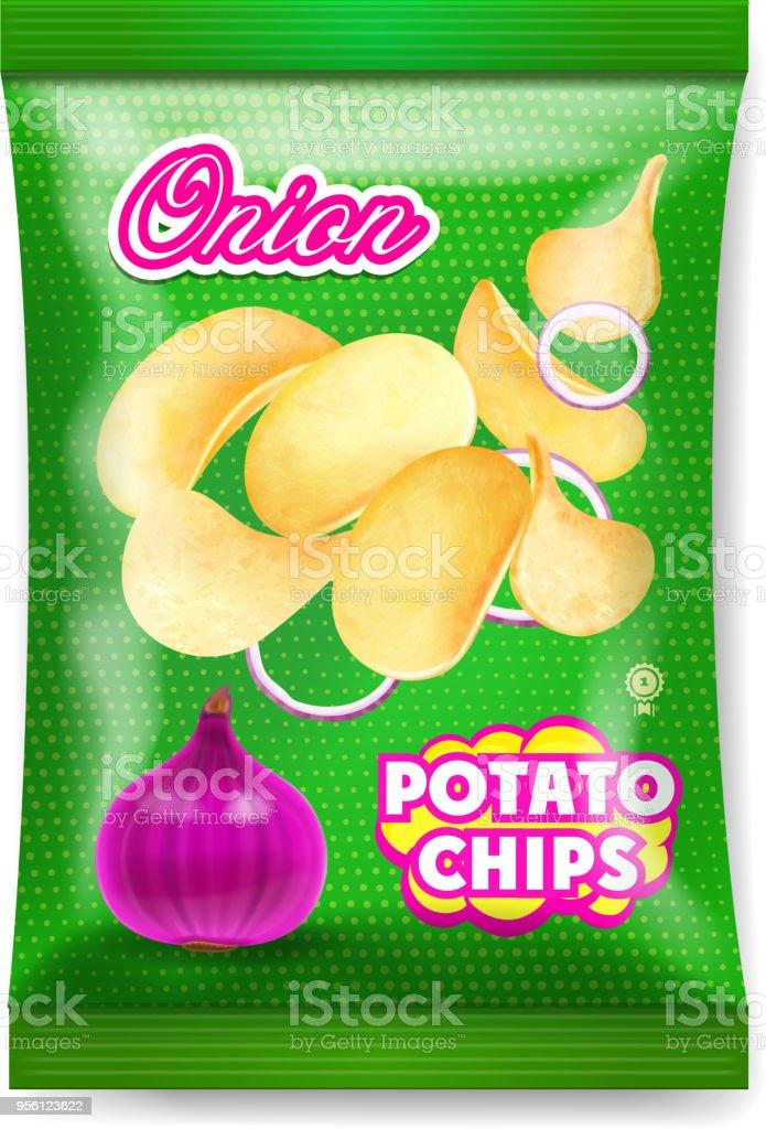 Potato chips onion package ads isolated illustration vector art illustration