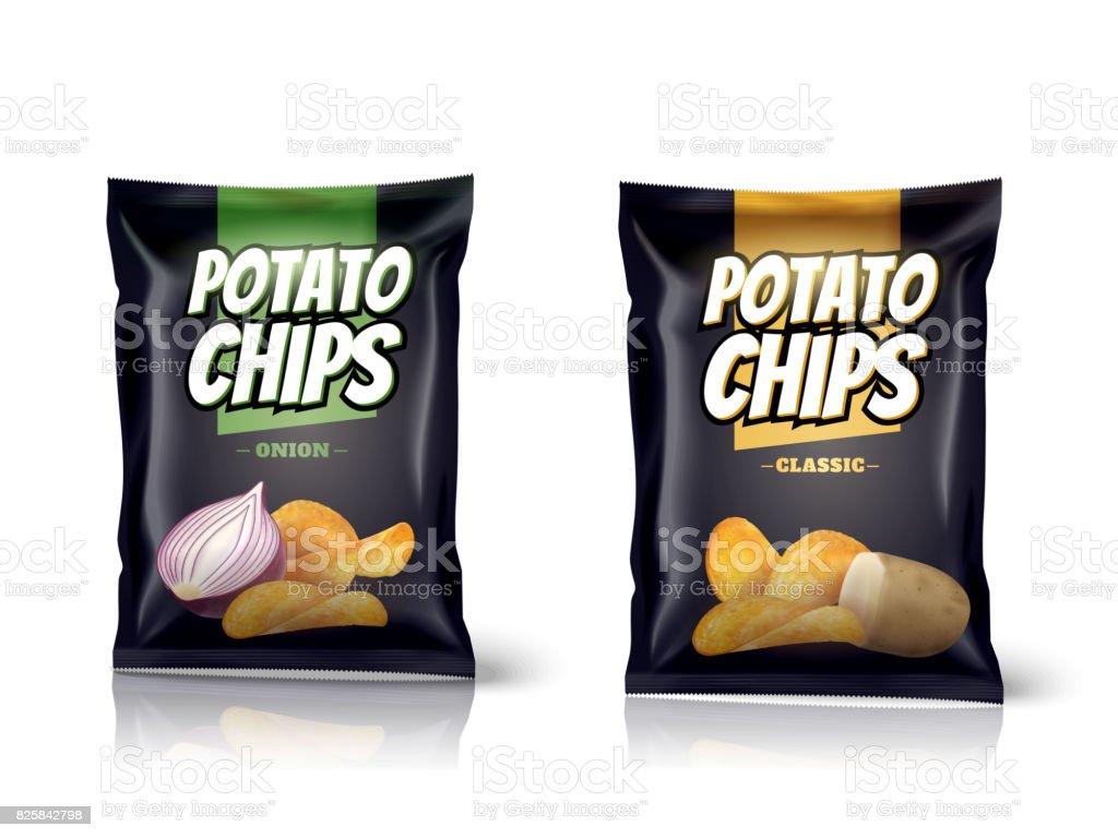 Potato chips package design vector art illustration