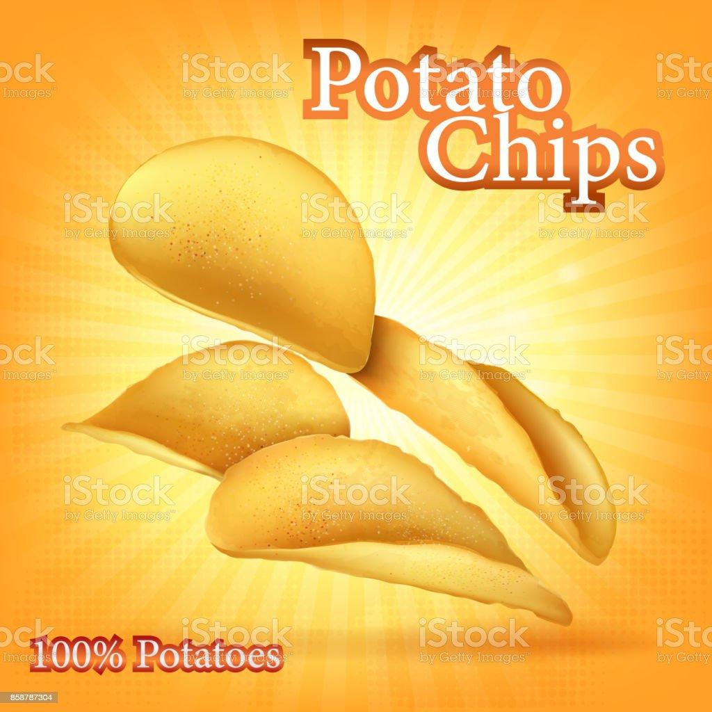 potato chips package vector art illustration