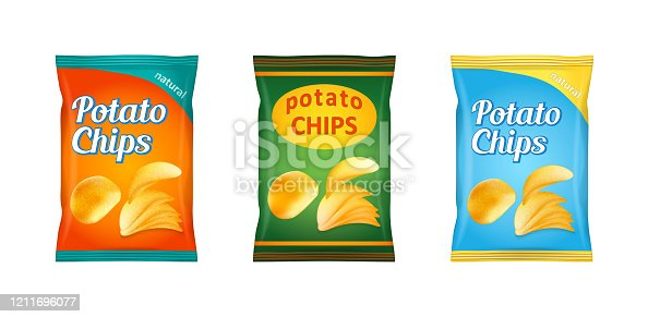 Potato chips packaging, stock vector illustration isolated on white background.