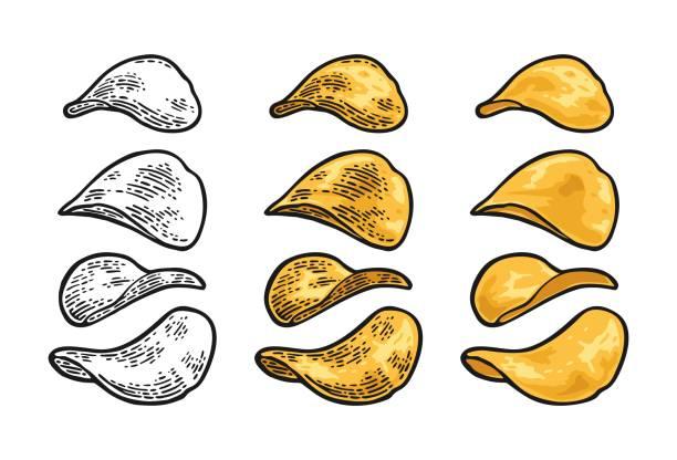 bildbanksillustrationer, clip art samt tecknat material och ikoner med potatischips. vector gravyr vintage - potatischips