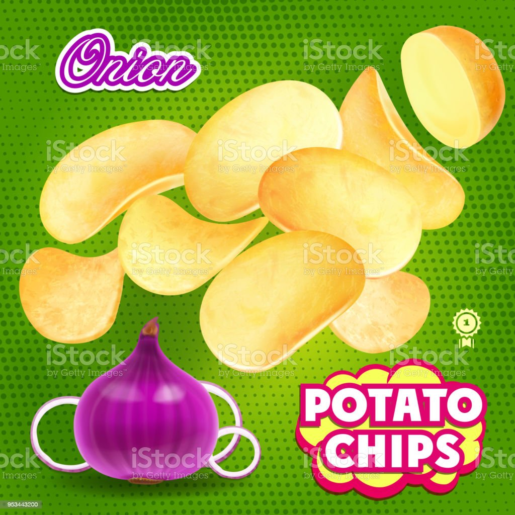 Potato chips whith onion flavor realistic advertising vector art illustration
