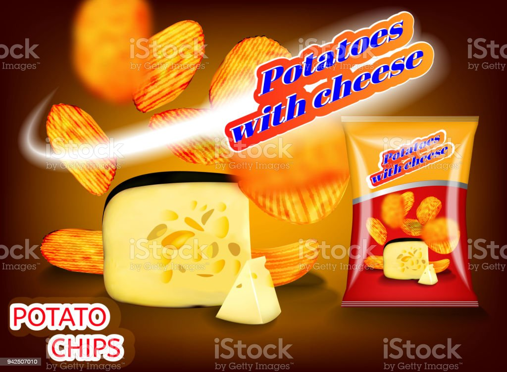 Potato chips with cheese pattern for your advertising packing. vector art illustration