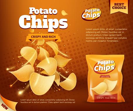 Potato crispy chips and foil bag advertising