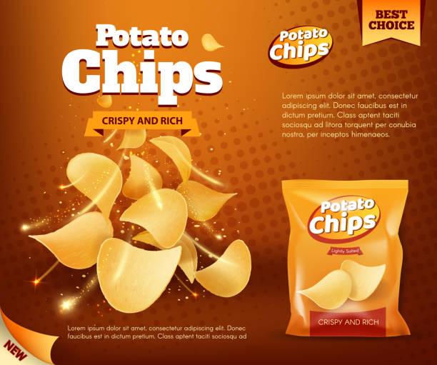 bildbanksillustrationer, clip art samt tecknat material och ikoner med potatiskrispiga chips och foliebag reklam - potatischips