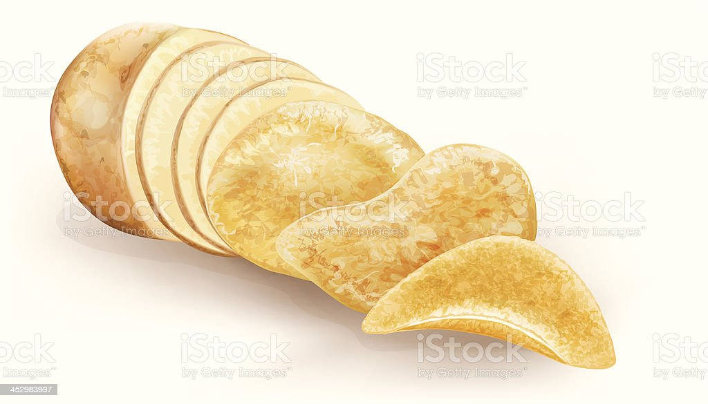 potato cut and chips vector art illustration