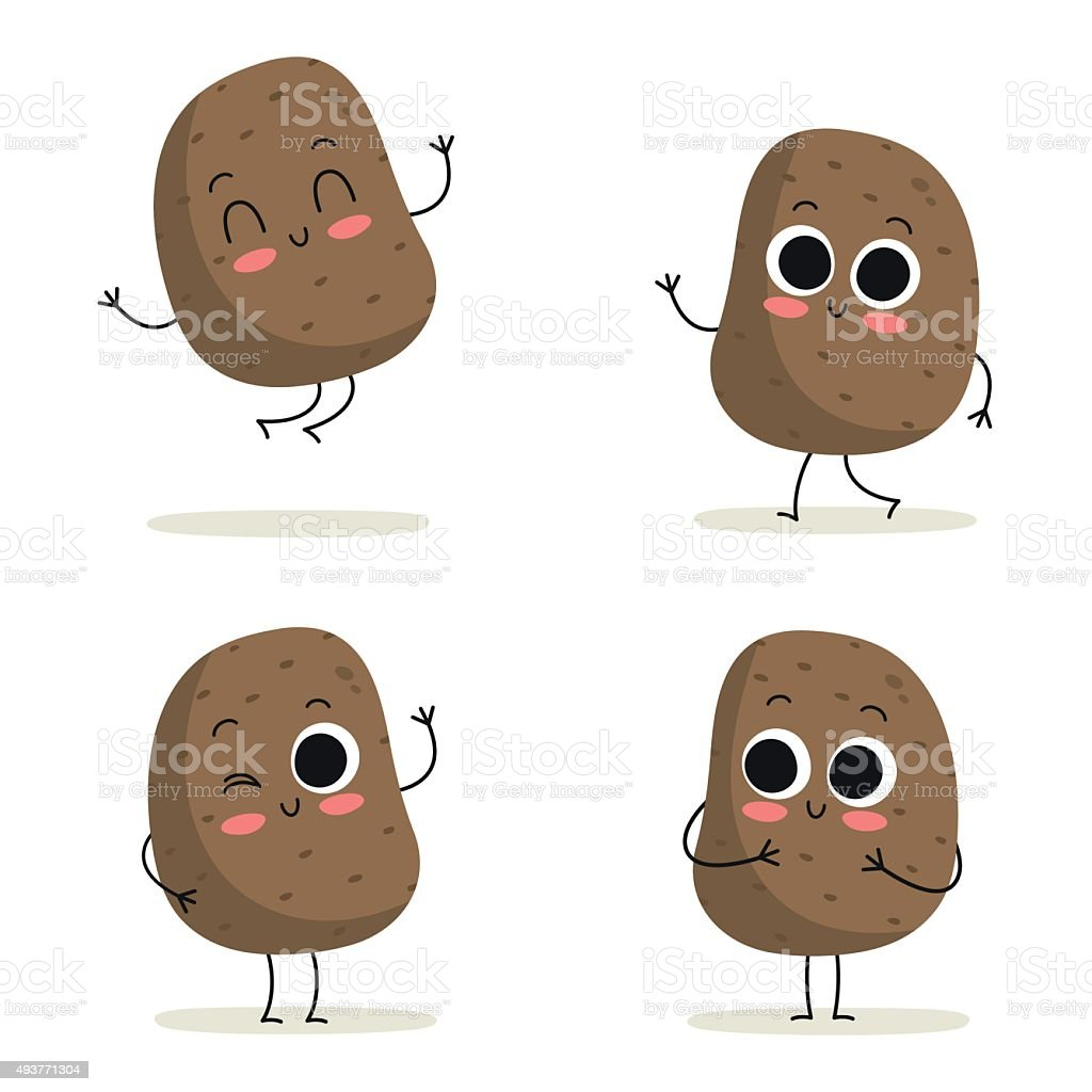 Potato. Cute vegetable character set isolated on white vector art illustration