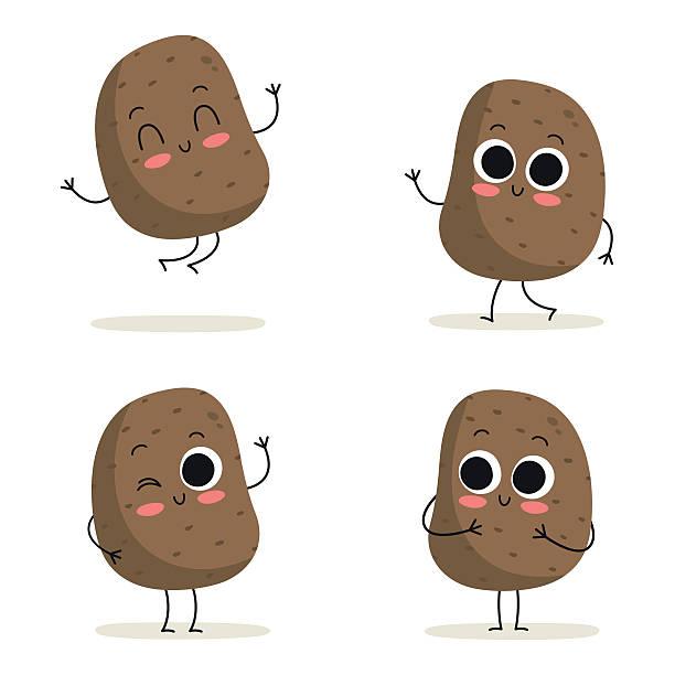 kartoffel. süße gemüse-zeichen-set, isoliert auf weiss - kartoffeln stock-grafiken, -clipart, -cartoons und -symbole