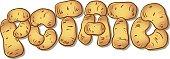 Potato. Farm food graphic design poster potatoes