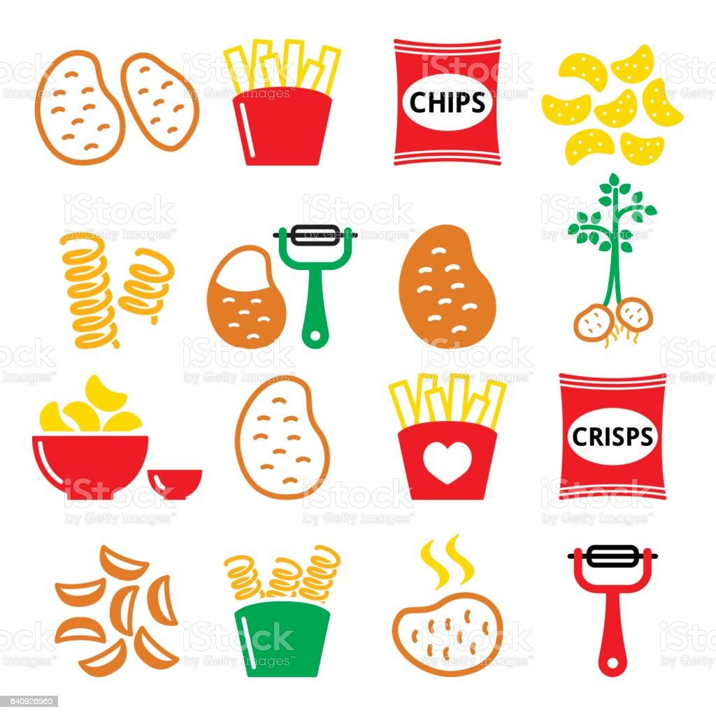 Potato, French fries, crisps, chips vector icons set vector art illustration