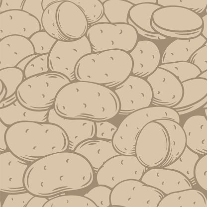 Potato tubers seamless pattern