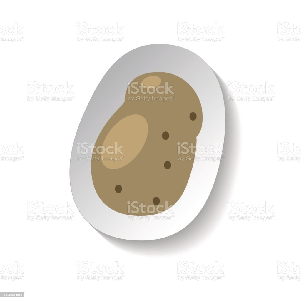 Potato vector icon in flat style with shadow. Vegetable pictogram. vector art illustration