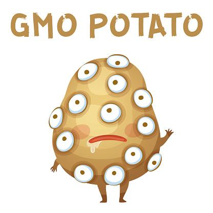 GMO Potato Vegetable Illustration. Cartoon Vector Funny Potato Character Icon Isolated on White Background