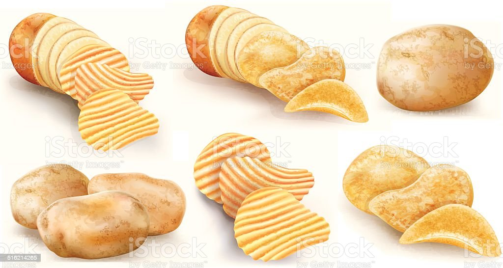 potatoes and chips collection vector art illustration