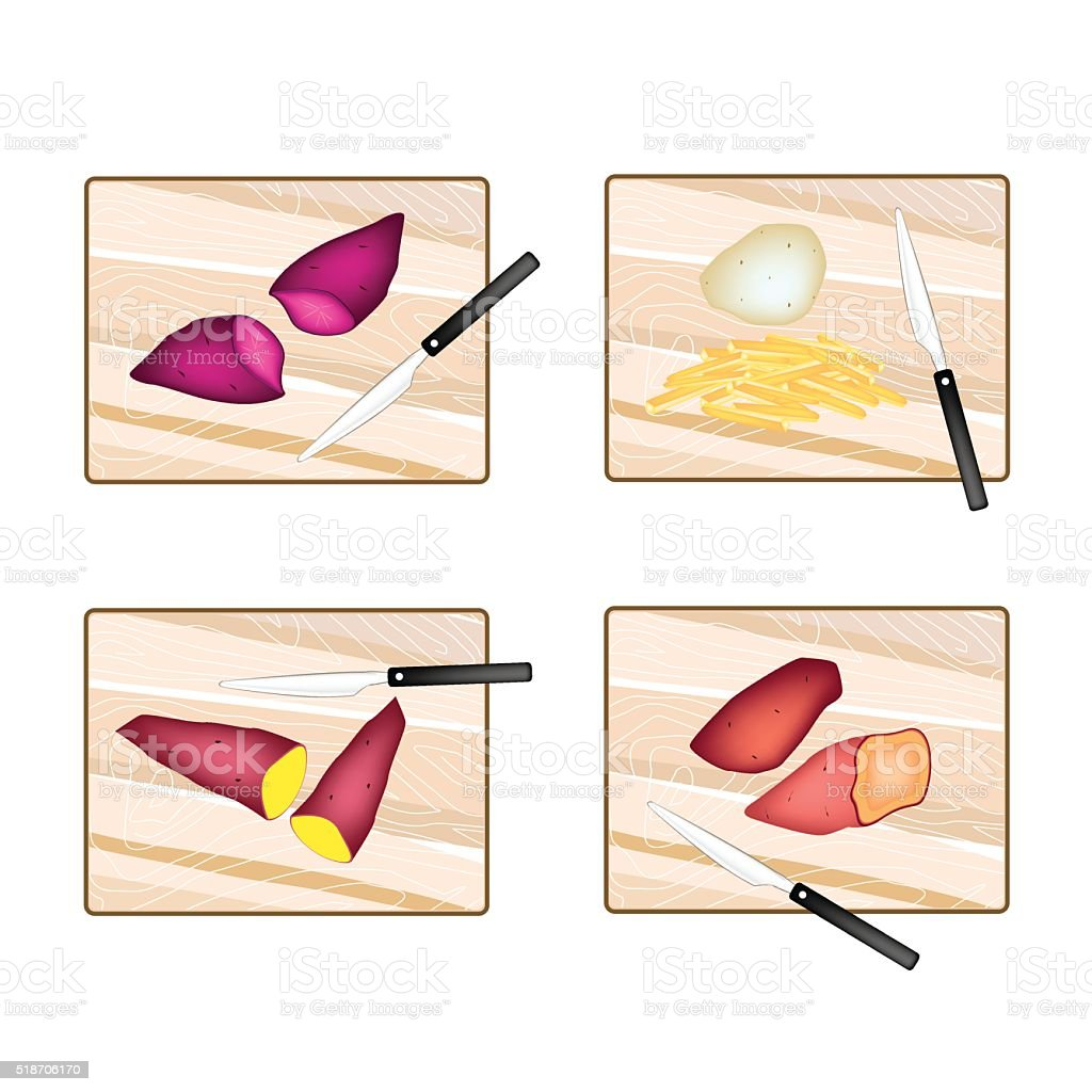 Potatoes and Sweet Potatoes on Cutting Board vector art illustration