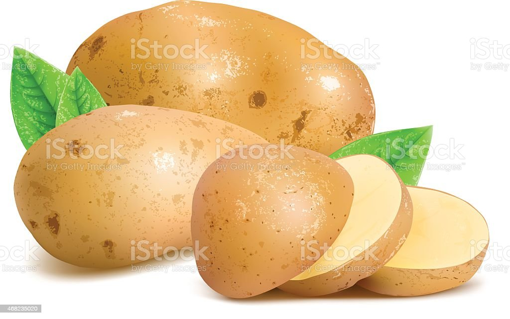 Potatoes with slices and leaves. vector art illustration