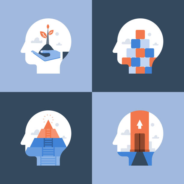 Potential development, growth mindset, critical or positive thinking, psychology or psychiatry Growth mindset, critical or positive thinking, psychology or psychiatry, self awareness, life long aspiration, happiness pursuit, personal potential development, vector icon, flat illustration attitude stock illustrations