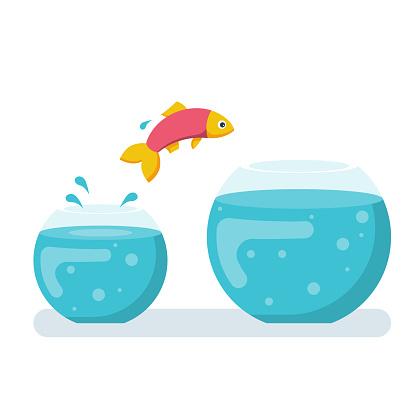 Potential fish jumping to biger fishbowl