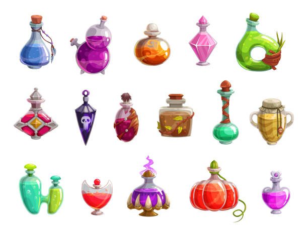Potion bottles with magic liquid elixir of witch Potion bottles vector icons of witch magic elixir or alchemist poison. Evil wizard glass jars and magician flasks with colorful liquid, creepy skull tags and corks. Magical drink, Halloween design potion stock illustrations