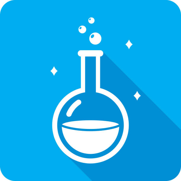 Potion Icon Silhouette Vector illustration of a blue potion flask icon in flat style. love potion stock illustrations