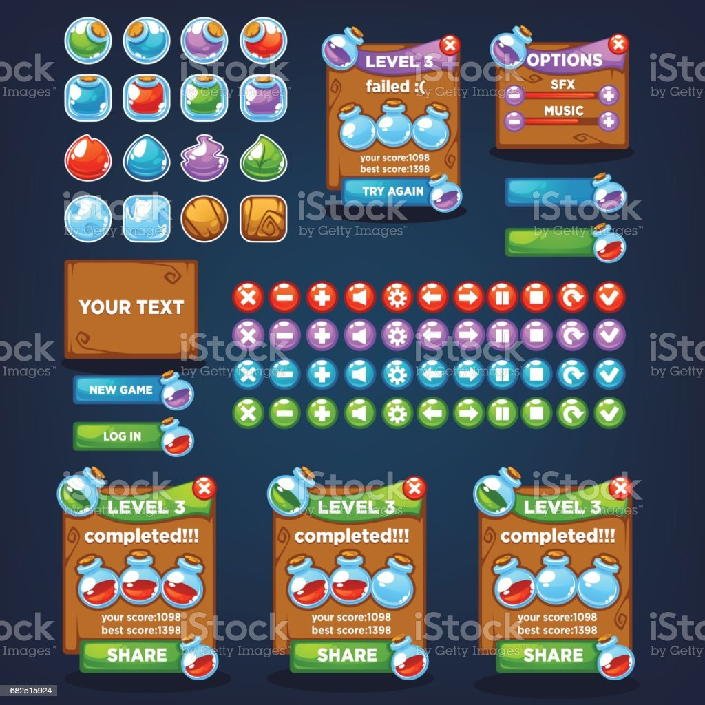 Potion maker, bubble shooter, match 3, large vector cartoon collection