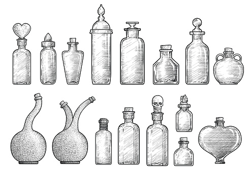 Potion, medicine bottle illustration, drawing, engraving, ink, line art, vector