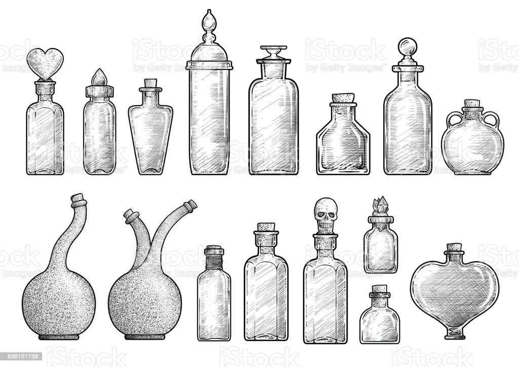 Potion, medicine bottle illustration, drawing, engraving, ink, line art, vector vector art illustration