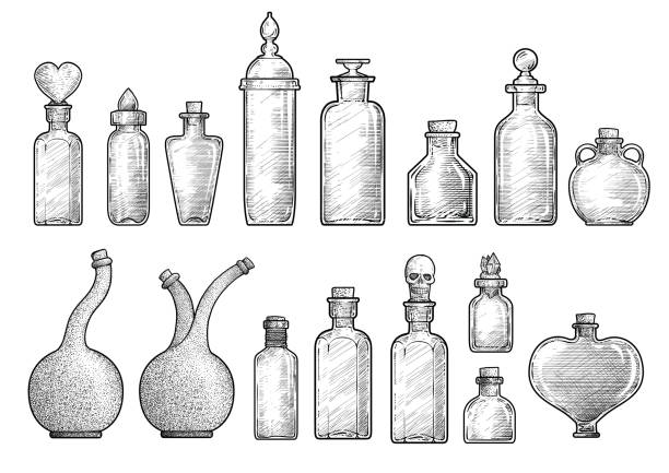Potion, medicine bottle illustration, drawing, engraving, ink, line art, vector Illustration, what made by ink, then it was digitalized. laboratory flask stock illustrations