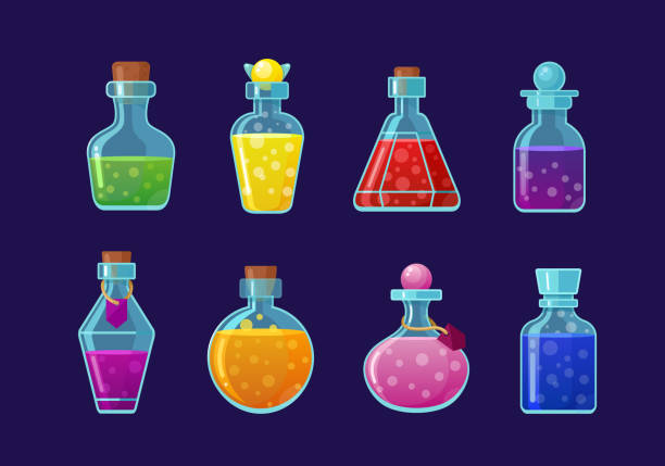 Potions vector cartoon illustrations set. Magic drinks, fairy elixirs, substance with bubbles, witch beverages. Corked glass flasks with color liquid collection isolated on blue background. Potions vector cartoon illustrations set. Magic drinks, fairy elixirs, substance with bubbles, witch beverages. Corked glass flasks with color liquid collection isolated on blue background laboratory glassware stock illustrations