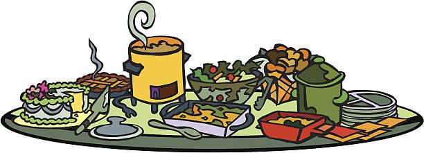 Potluck Table Items vector art illustration