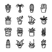 Potted Leaves Icons Set