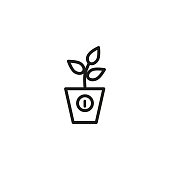 Line icon of potted plant. Houseplant, plant growth control, startup company. Growth concept. For topics like biology, business, nature