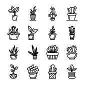 Potted Plants Icons Pack