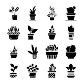 Potted Plants Icons Set